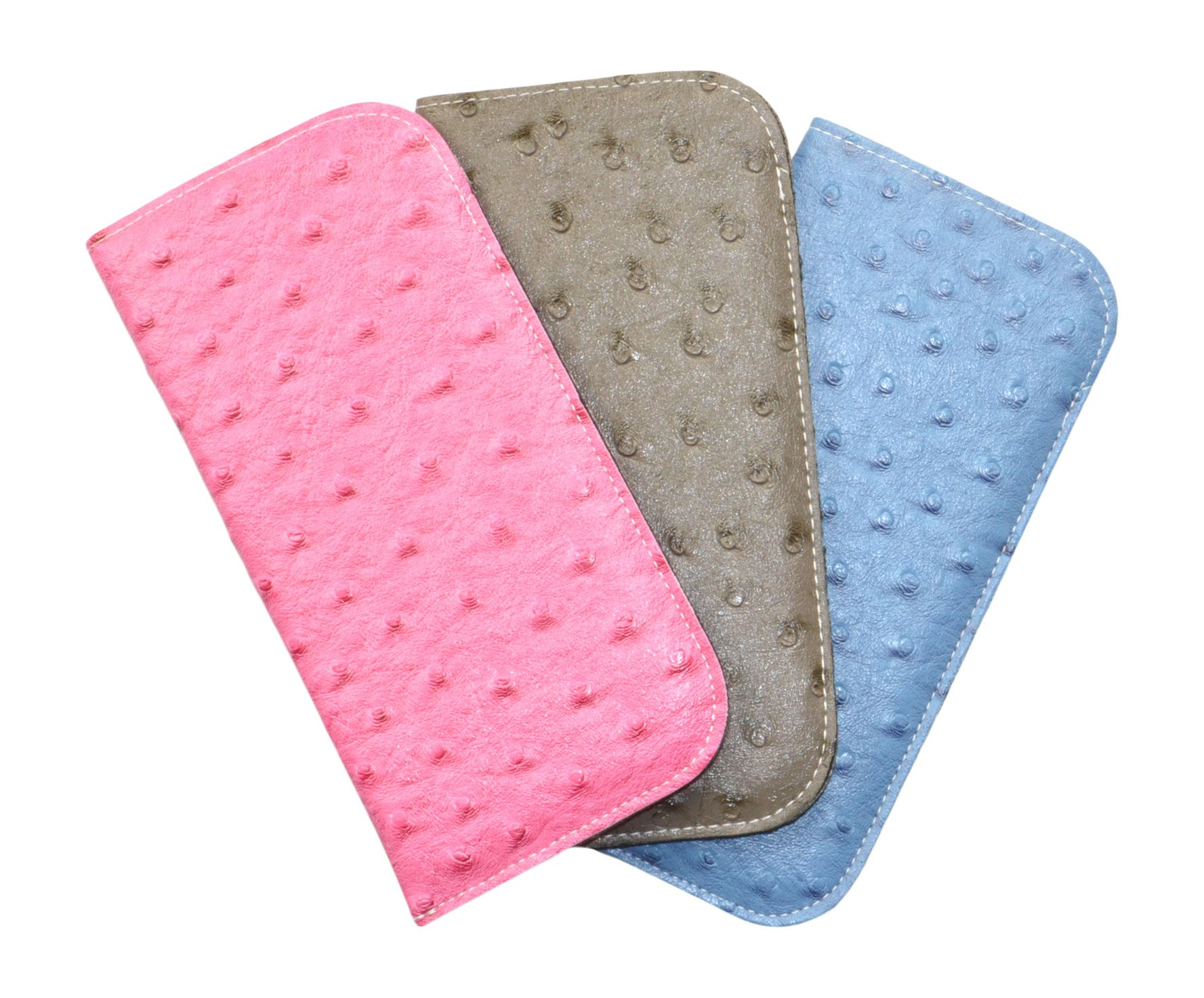 3 Pack Soft Slip In Eyeglass Cases In Faux Ostrich Leather, Gray/Pink/Blue