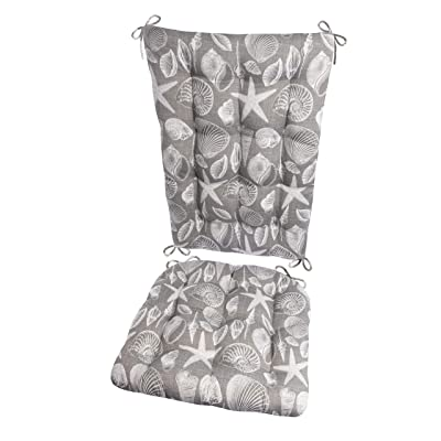 Shoreline Grey Porch Rocker Cushion Set - Standard - Indoor / Outdoor: Fade Resistant, Weatherproof - Latex Foam Filled Rocking Chair Seat Cushion & Backrest Pad Set - Reversible, MADE IN USA (Gray) : Garden & Outdoor