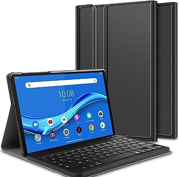 ELTD Funda Teclado Español Ñ para Lenovo Tab M10 FHD Plus (2nd Gen) 10.3 Inch, Protectora Cover Funda con Desmontable Wireless Teclado, (Negro)