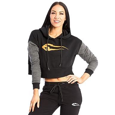 SMILODOX Kapuzenpullover Damen   Cropped Hoodie für Sport Fitness   Freizeit    Sportpullover - Sweatshirt Pulli 9d9d9eb22e