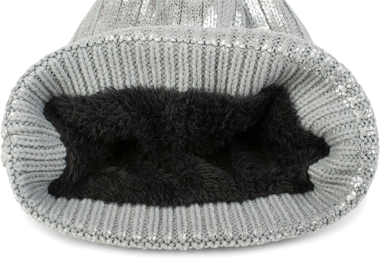 444845ac358 styleBREAKER Warm Bobble hat in Metallic Look