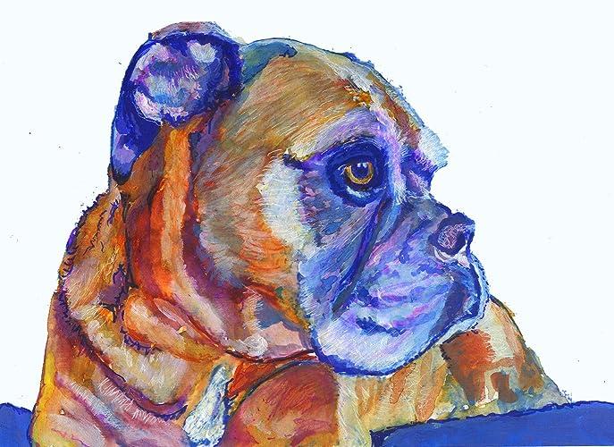 Amazon.com: Colorful Boxer Dog Wall Art Print, Boxer Dog Gift, Boxer ...