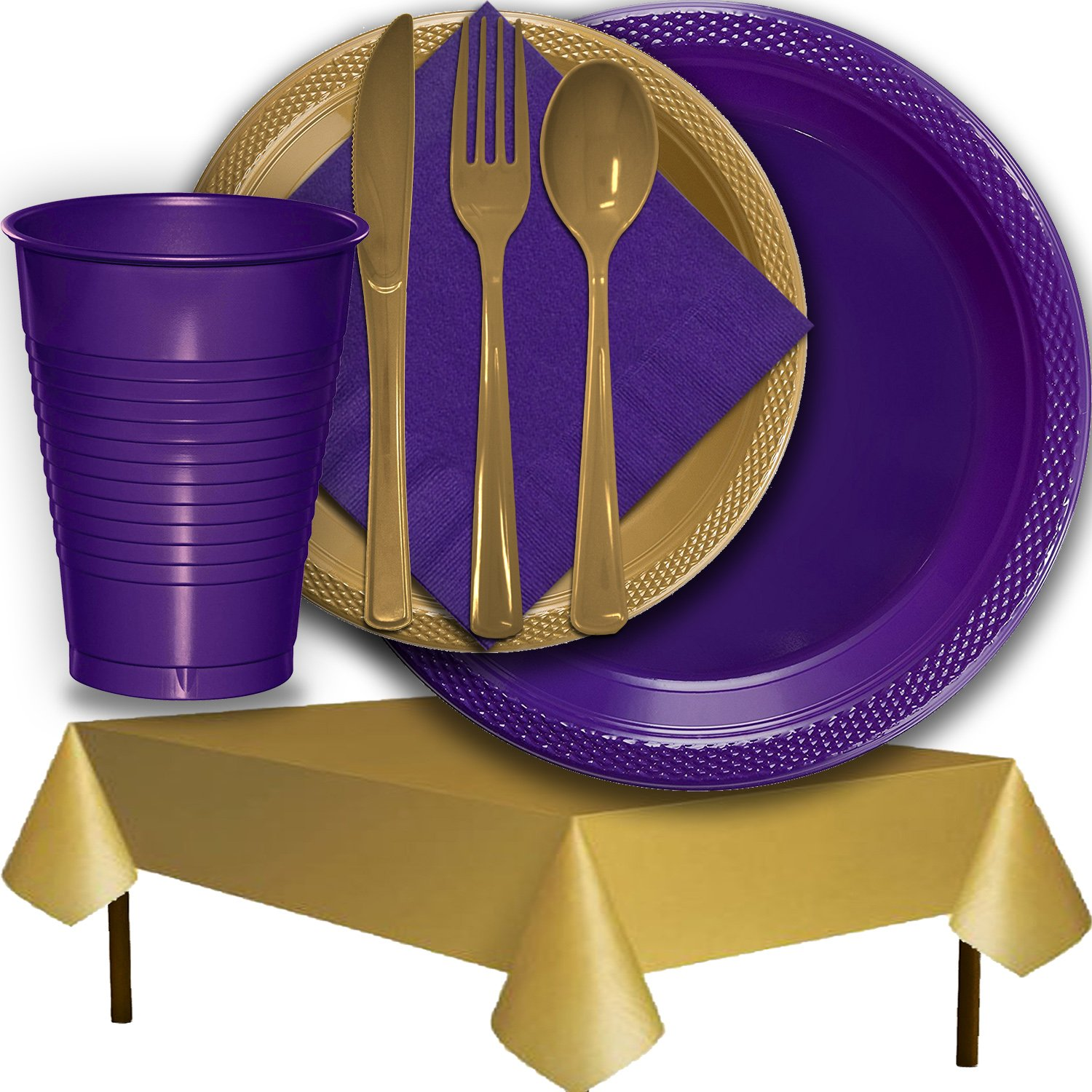 Plastic Party Supplies for 50 Guests - Purple and Gold - Dinner Plates, Dessert Plates, Cups, Lunch Napkins, Cutlery, and Tablecloths - Premium Quality Tableware Set