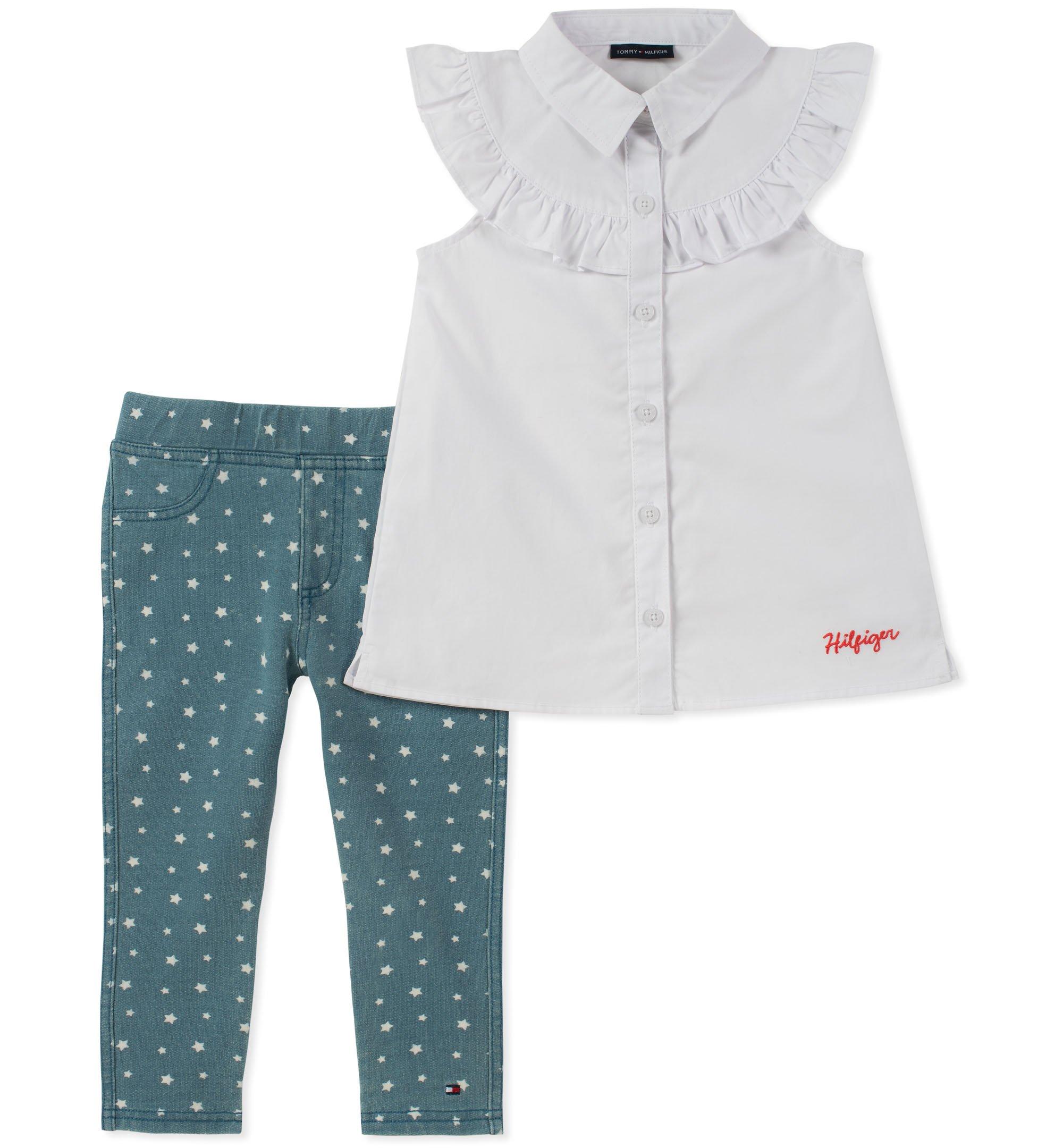 Tommy Hilfiger Toddler Girls' Tunic Set, White/Medium Blue, 4T