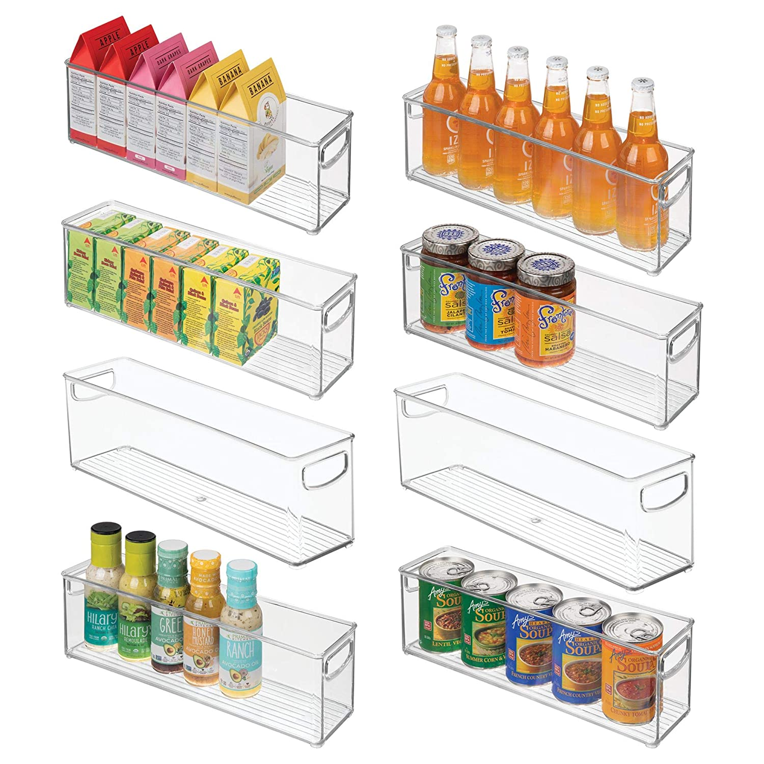"mDesign Plastic Stackable Kitchen Pantry Cabinet, Refrigerator or Freezer Food Storage Bins with Handles - Organizer for Fruit, Yogurt, Snacks, Pasta - BPA Free, 16"" Long, 8 Pack - Clear"