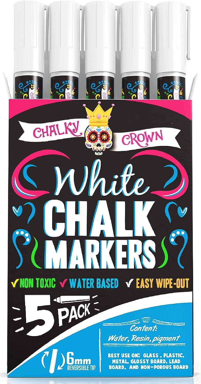 Liquid Chalk Marker Pen - White Dry Erase Marker - Chalk Markers for Chalkboard Signs, Windows, Blackboard, Glass - 6mm Reversible Tip (5 Pack) - 24 Chalkboard Labels Included : Office Products