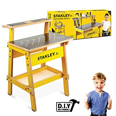 Stanley Jr. Kids Work Bench – Real Wood Craft Kits for Kids – Fun Working Bench for Kids – Kids Workshop Tool Bench – Children's Play Work Bench – Play Construction Sets for Kids: Toys & Games