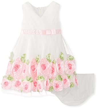 6097a755aa40 Amazon.com  Bonnie Baby Baby Girls  Coral Crossover Bonaz Dress ...