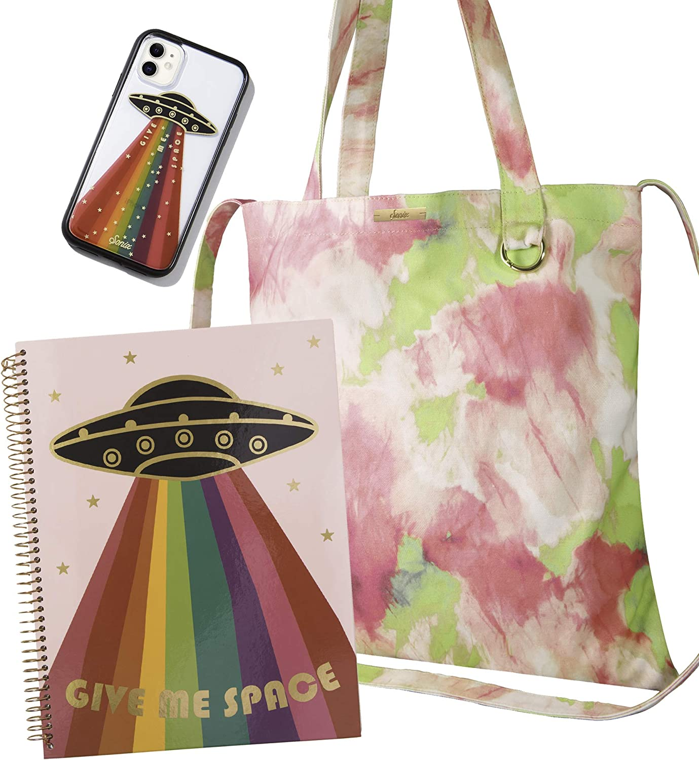 Sonix Give Me Space Book Bag Bundle - iPhone 11 Case + Spiral Notebook + Tie-Dye Tote