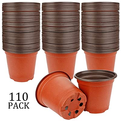 "Augshy 110 Pcs 4"" Plastic Plants Nursery Pot,Seed Starting Pots: Garden & Outdoor"