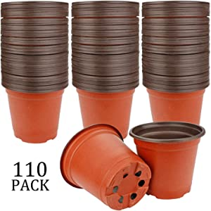 "Augshy 110 Pcs 4"" Plastic Plants Nursery Pot,Seed Starting Pots"