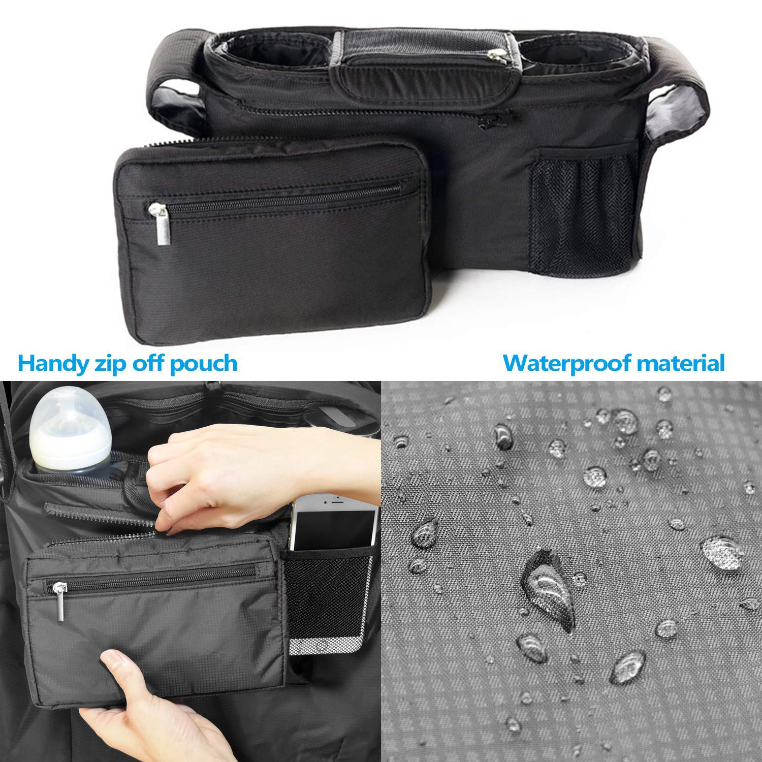 Solayman/'s Baby Stroller Organizer with Deep Insulated Cup Holders Extra Storage Fits All Stroller Model Non Slip Baby Shower Gift Easy Installation Universal Stroller Organizer Bag for Smart Mom