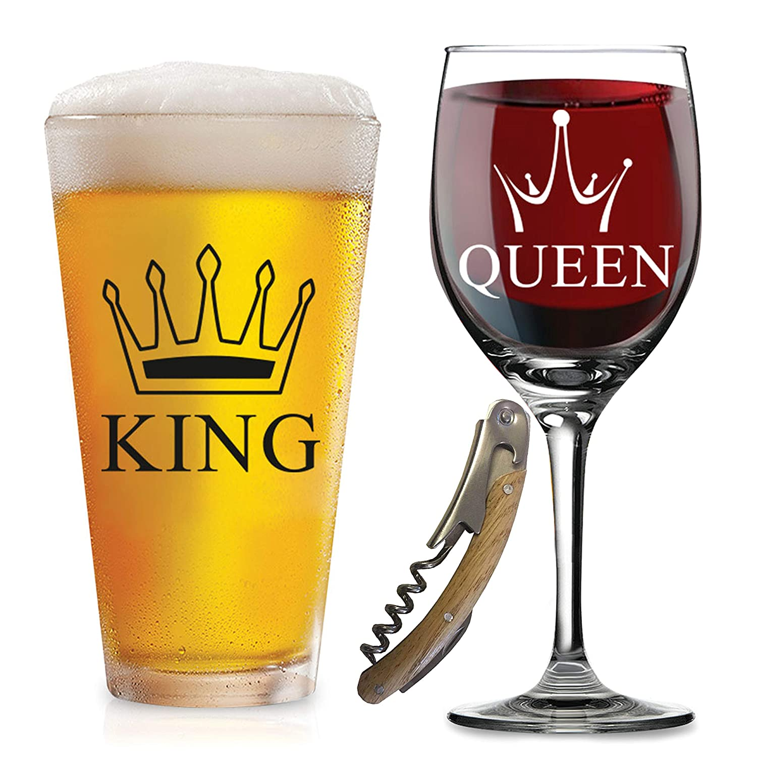 Funny Wedding Gifts.Sale King Queen Glasses With Free Bottle Opener Funny Wedding Gifts For Wedding Engagement Couples Anniversary Birthday Newlyweds