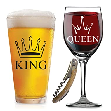 King Queen Glasses - with FREE Bottle Opener - Funny Wedding Gifts - For Wedding, Engagement, Couples, Anniversary, Birthday, Newlyweds, Novelty and Bridal Shower - with Prestigious Package