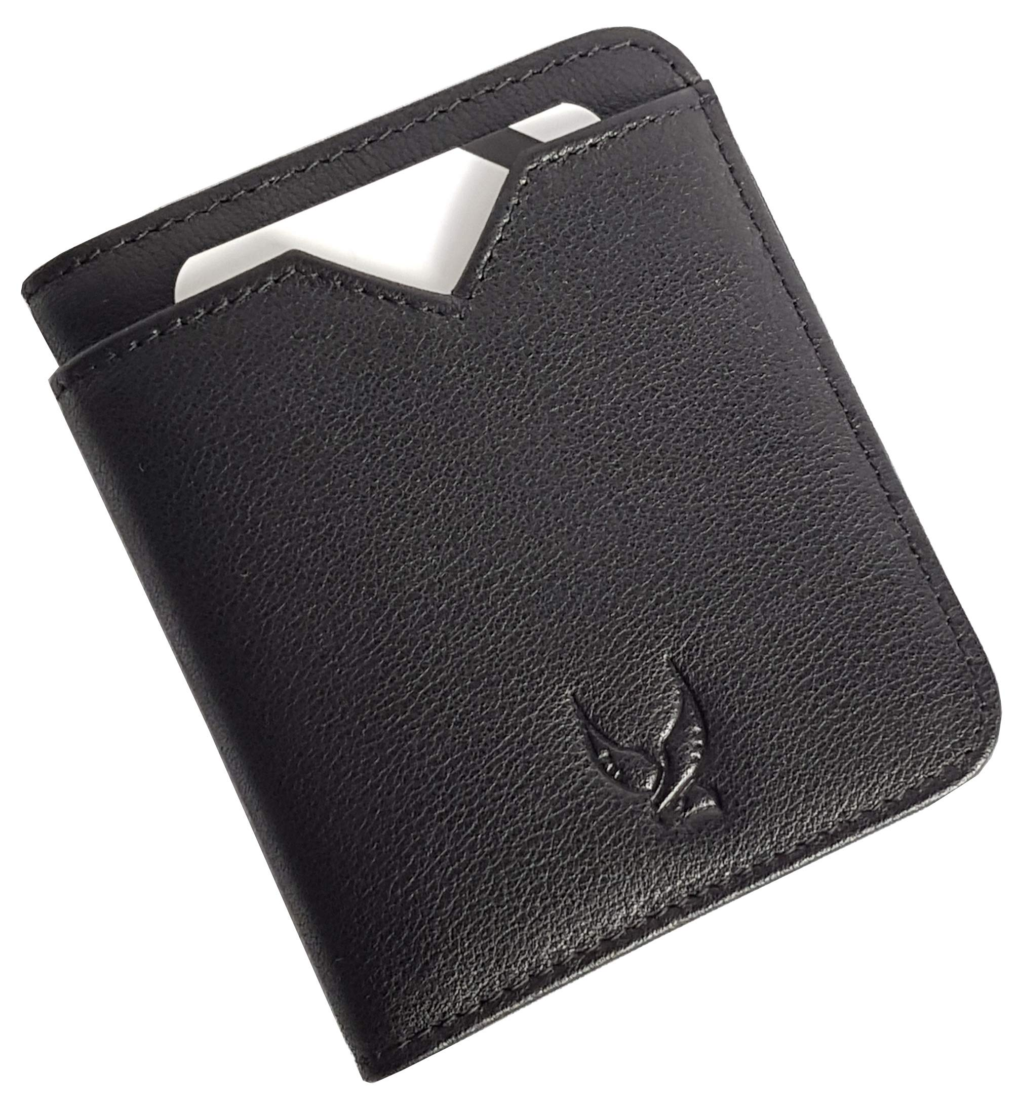 Falcon Vault - RFID Blocking Bifold Men's Wallet - Slim Genuine Italian Leather Wallet for Men – 13.56 MHz RFID Protection - Compact Design - Hold Upto 9 Cards - Prevents Identity Theft - Black