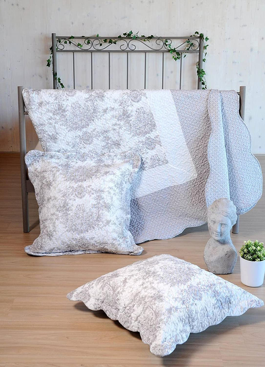 Lovely Casa Mitra Boutis avec 2 Taies, Polyester, Gris, 240 x 220 cm P48380001