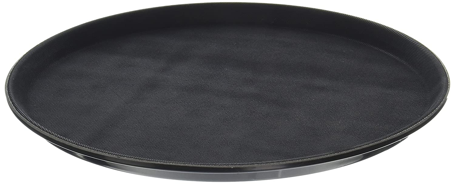 New Star Foodservice 25033 Non-Slip Tray, Plastic, Rubber Lined, Round, 14 inch, Black