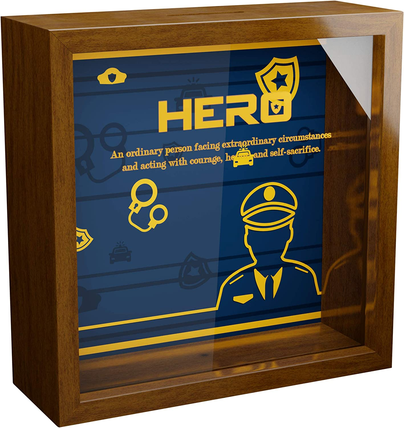6x6x2 Memorabilia Shadow Box with Glass Front for Retired or Active Officers Police Officer Gifts Wall or Desk Wooden Keepsake Frame Decor Home and Office Decorations for Cops