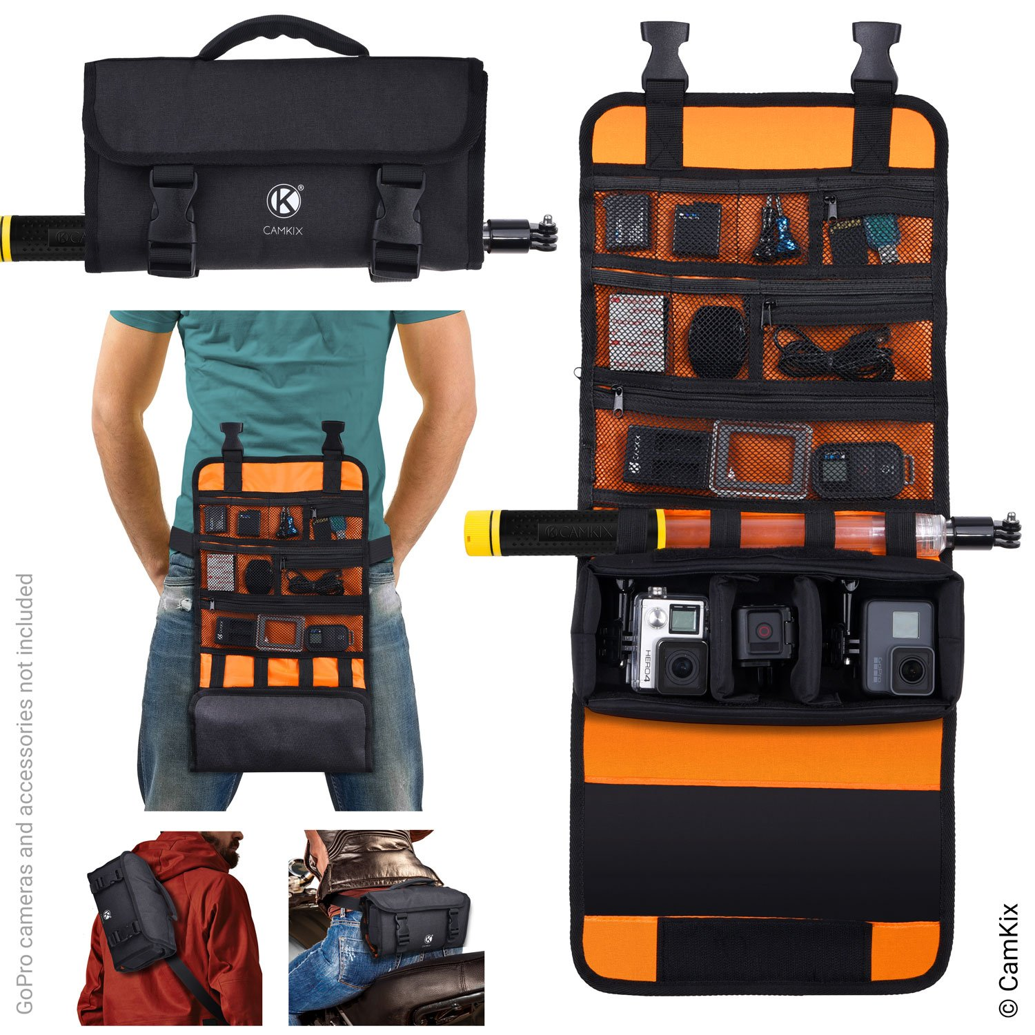 CamKix Replacement Roll-Out Bag with Waist/Shoulder Strap Compatible with GoPro Hero + Other Action/Compact Cameras - Multiple Carry Options (Hand, Shoulder, Waist, Back) - Smart Case Layout