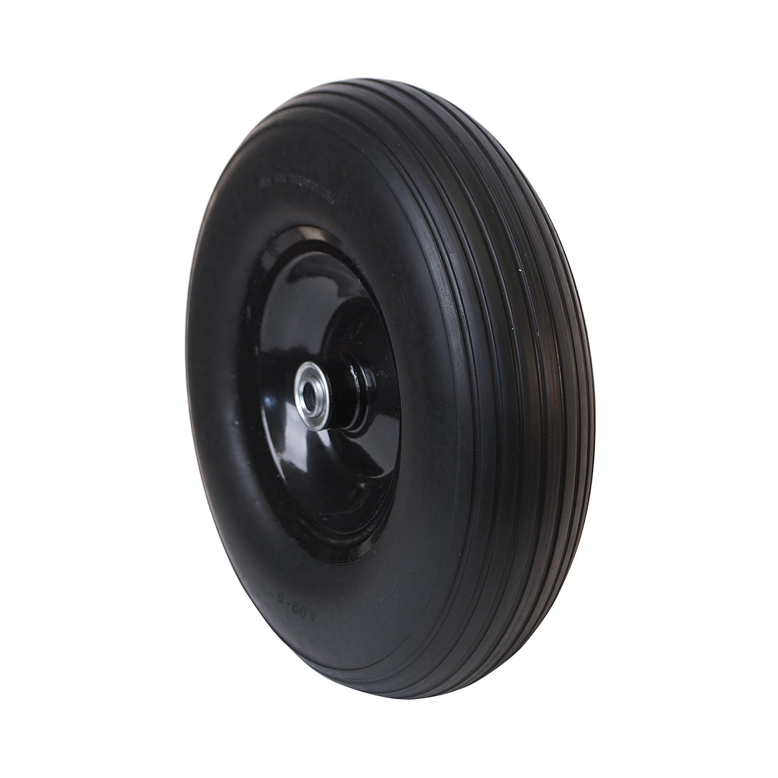 ALEKO WBNF13 Anti Flat Ribbed Replacement Wheel for Wheelbarrow 13 Inches No Flat Tire Black
