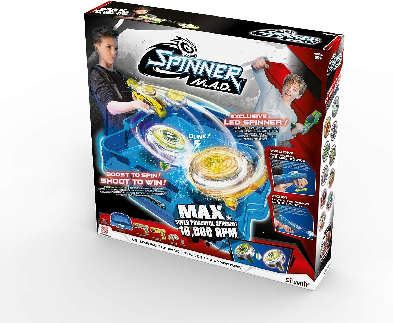 Silverlit Spinner Mad by Pack Deluxe 2 Jugadores – 1 areno, 2 Blasters y 2 peonzas LED: Amazon.es: Juguetes y juegos
