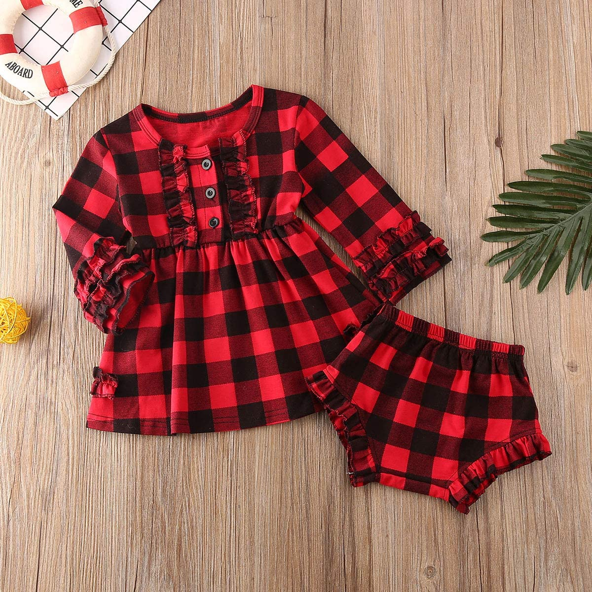 OPITIO Toddler Baby Girl Christmas Plaid Dress Long Sleeve Button Down Flannel Shirt Dress with Belt Fall Clothes