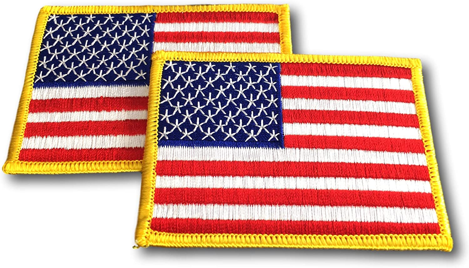 """Black//Red Embroidered Patches 3.5/""""x2.25/"""" iron-on B 25 Pcs USA American Flag"""