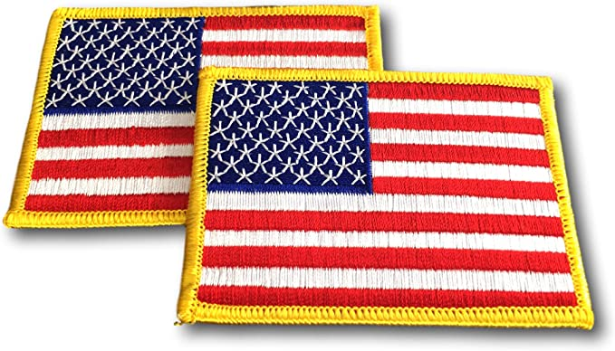 60s , 70s Hippie Clothes for Men 2 Pack USA US American Flag Embroidered Patch - 3.5 x 2.5