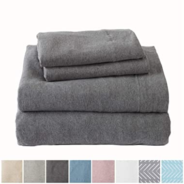 Great Bay Home Extra Soft Heather Jersey Knit (T-Shirt) Cotton Sheet Set. Soft, Comfortable, Cozy All-Season Bed Sheets. Carmen Collection By Brand. (King, Charcoal)