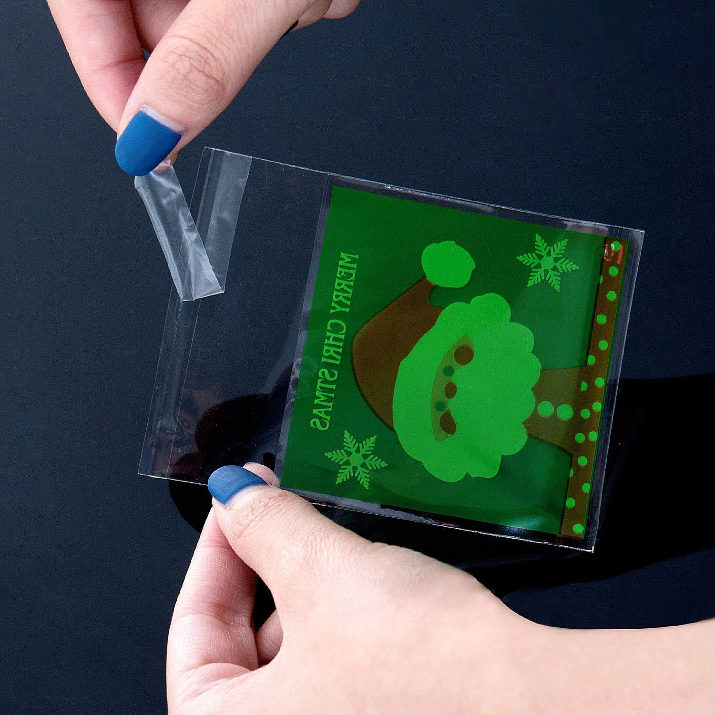 Festa Joeyer 400Pcs Mostri Sacchettini Trasparenti Alimentari Sacchetti Biscotto Plastica Cellophane Autoadesive Sacchetti per Natale Compleanno Partito Nozze
