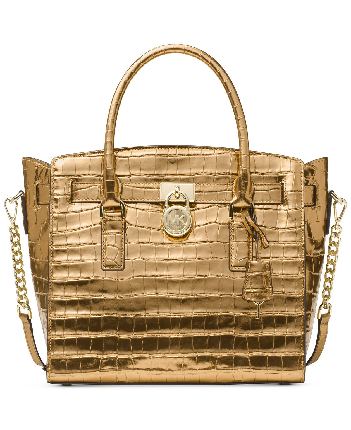MICHAEL Michael Kors Studio Hamilton Large East West Satchel (Gold) by Michael Kors