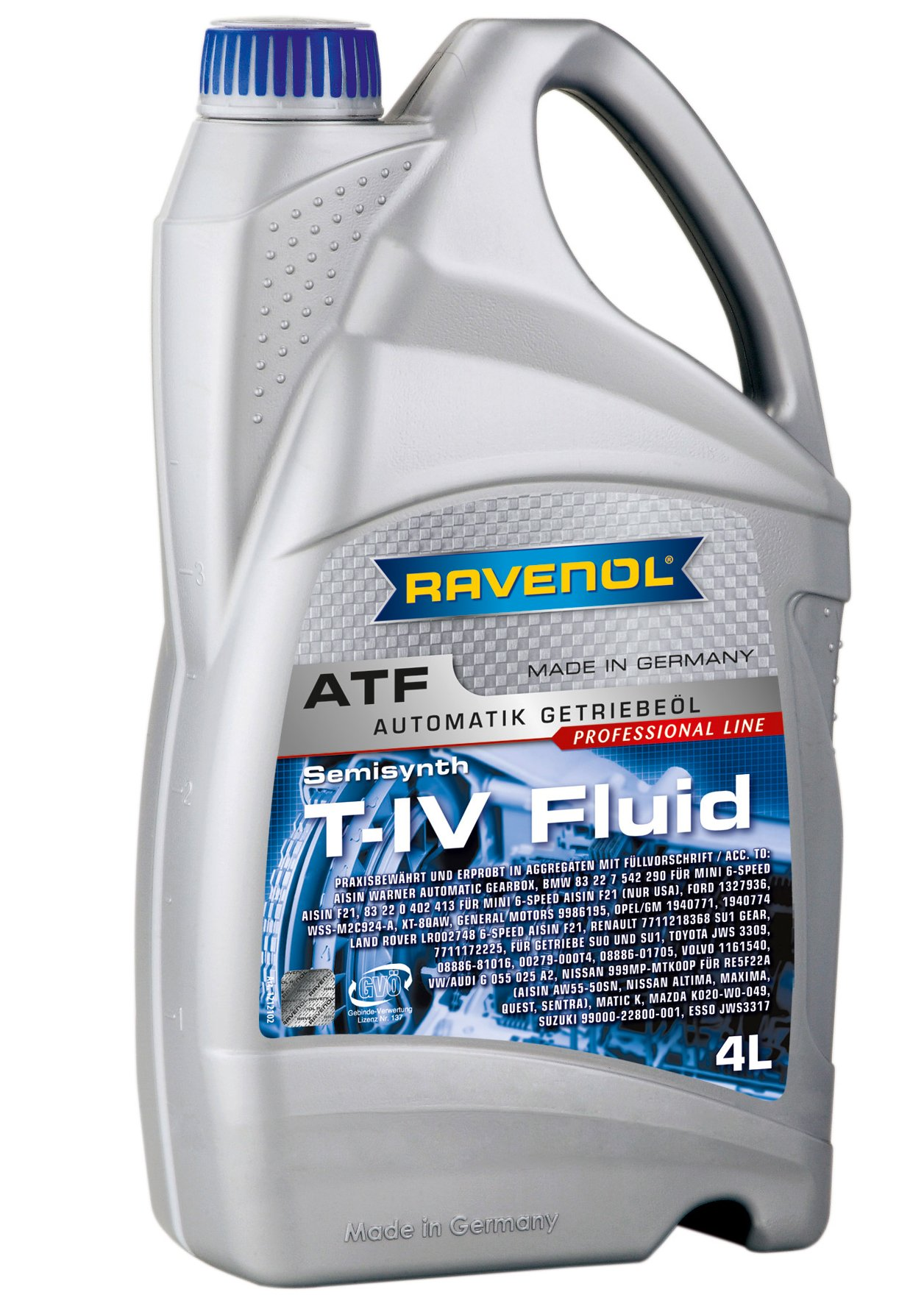 Ravenol J1D2108-004 ATF (Automatic Transmission Fluid) - T-IV Fluid for Toyota and Aisin AW Transmissions (4 Liter)