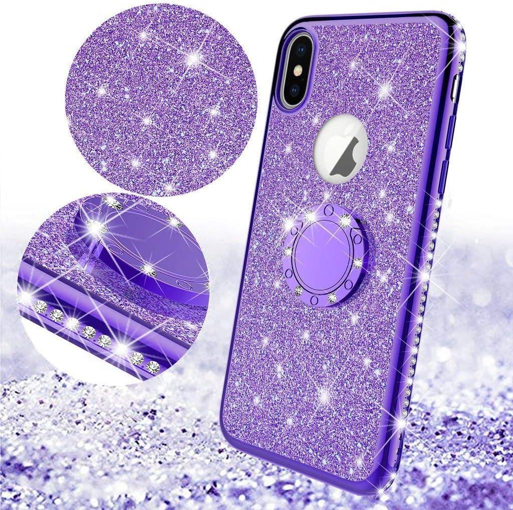 Homikon Silikon H/ülle Kompatibel mit iPhone XS Max /Überzug TPU Bling Glitzer Strass Diamant Schutzh/ülle mit 360 Grad Ring St/änder Soft Flex Durchsichtig Silikon Handyh/ülle Tasche Case Rose Gold