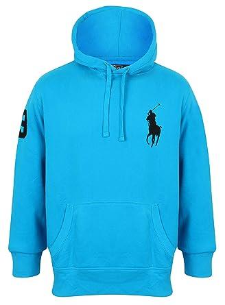 Polo Ralph Lauren Mens Big Pony Logo Pullover Hoodie In Light Blue (Medium)