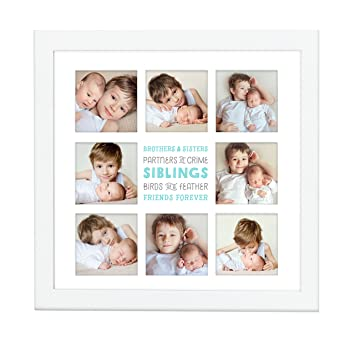 Amazon.com : Pearhead Siblings Collage Keepsake Photo Frame, White ...