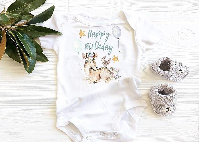 cbc1d43e0 Amazon.com: Happy Birthday, 1st Birthday Baby Bodysuit, Boho Baby Girl  Onesie, Deer and Birds, Woodland Onesie: Handmade