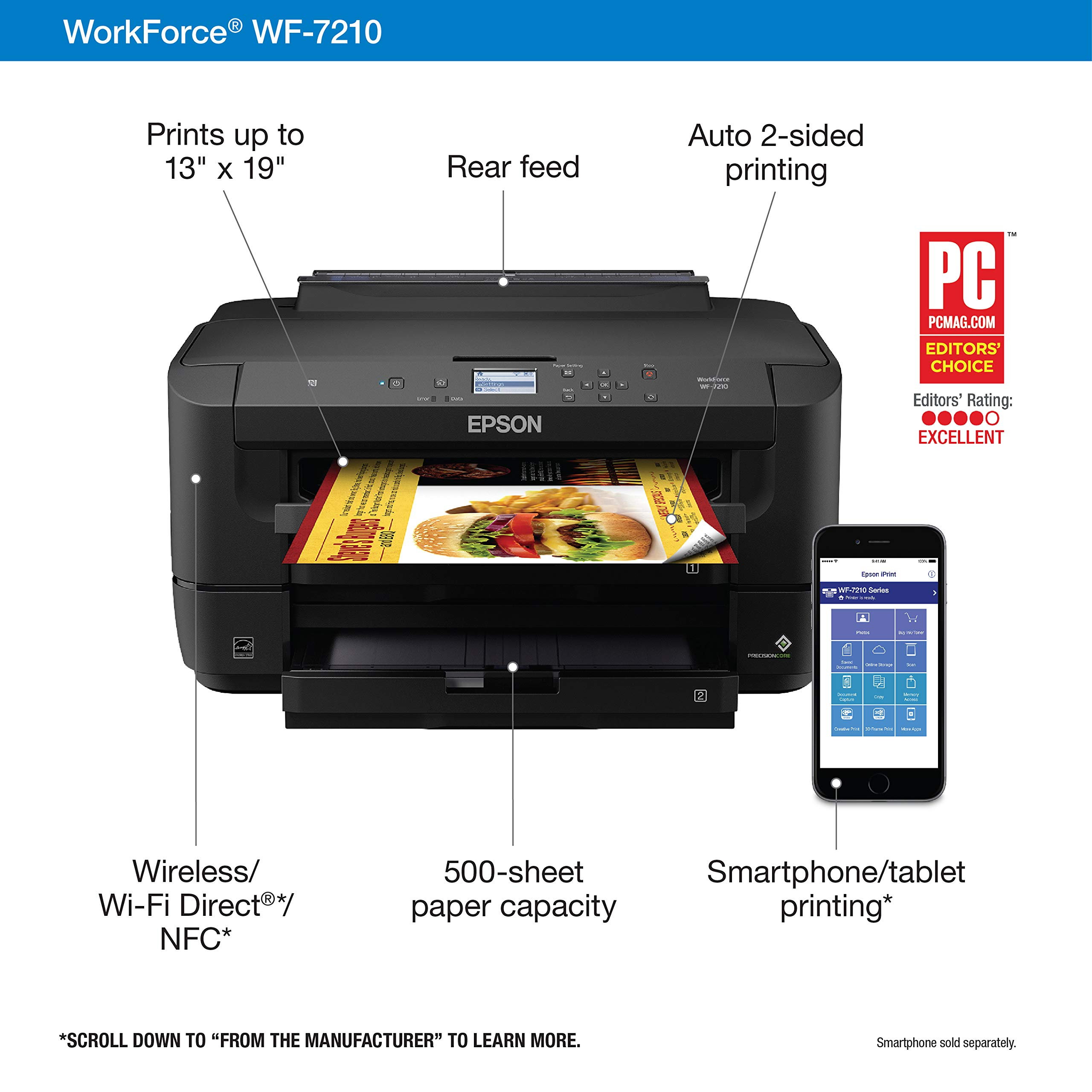 Workforce WF-7210 Wireless Wide-Format Color Inkjet Printer with Wi-Fi Direct and Ethernet, Amazon Dash Replenishment Enabled by Epson (Image #3)