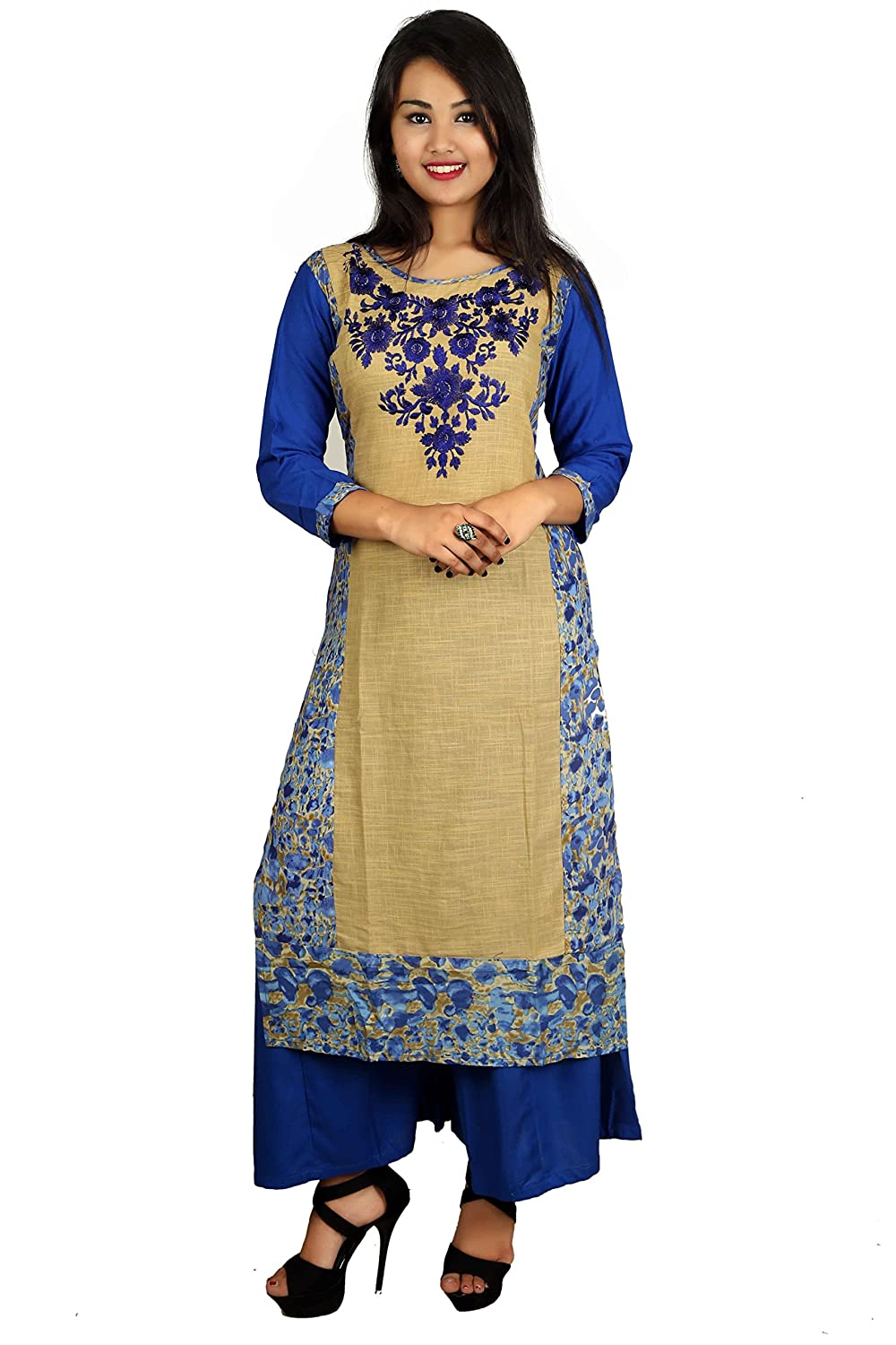 Blue Embroidered 3/4 Sleeve Cotton Women's Kurta and Palazzo Set Indian Handicrfats Export D08-Blue-Blue-XXL