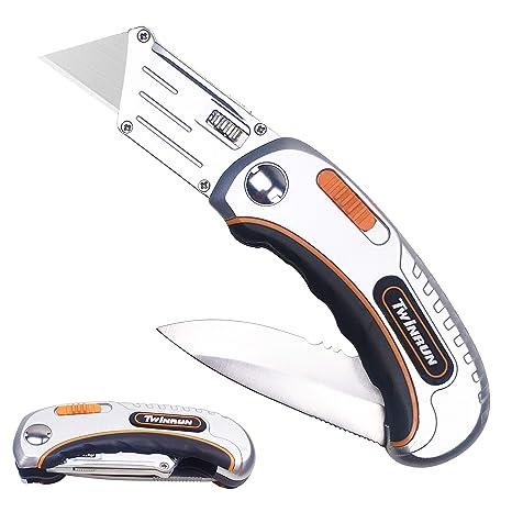 Amazon.com: TWINRUN Cuchillo plegable de doble hoja en ...