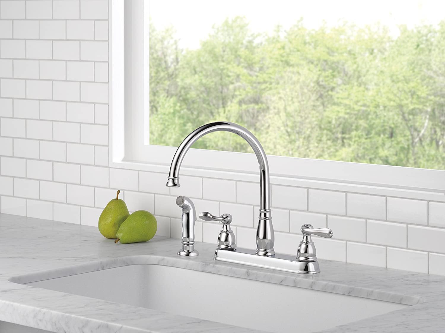 Delta Windemere 21996LF Two Handle Kitchen Faucet Chrome Touch