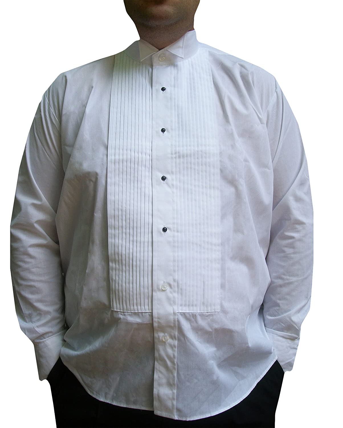 Broadway Tuxmakers 100% Cotton White Pleated Tuxedo Shirt Wing Collar, Men's Men's 302M