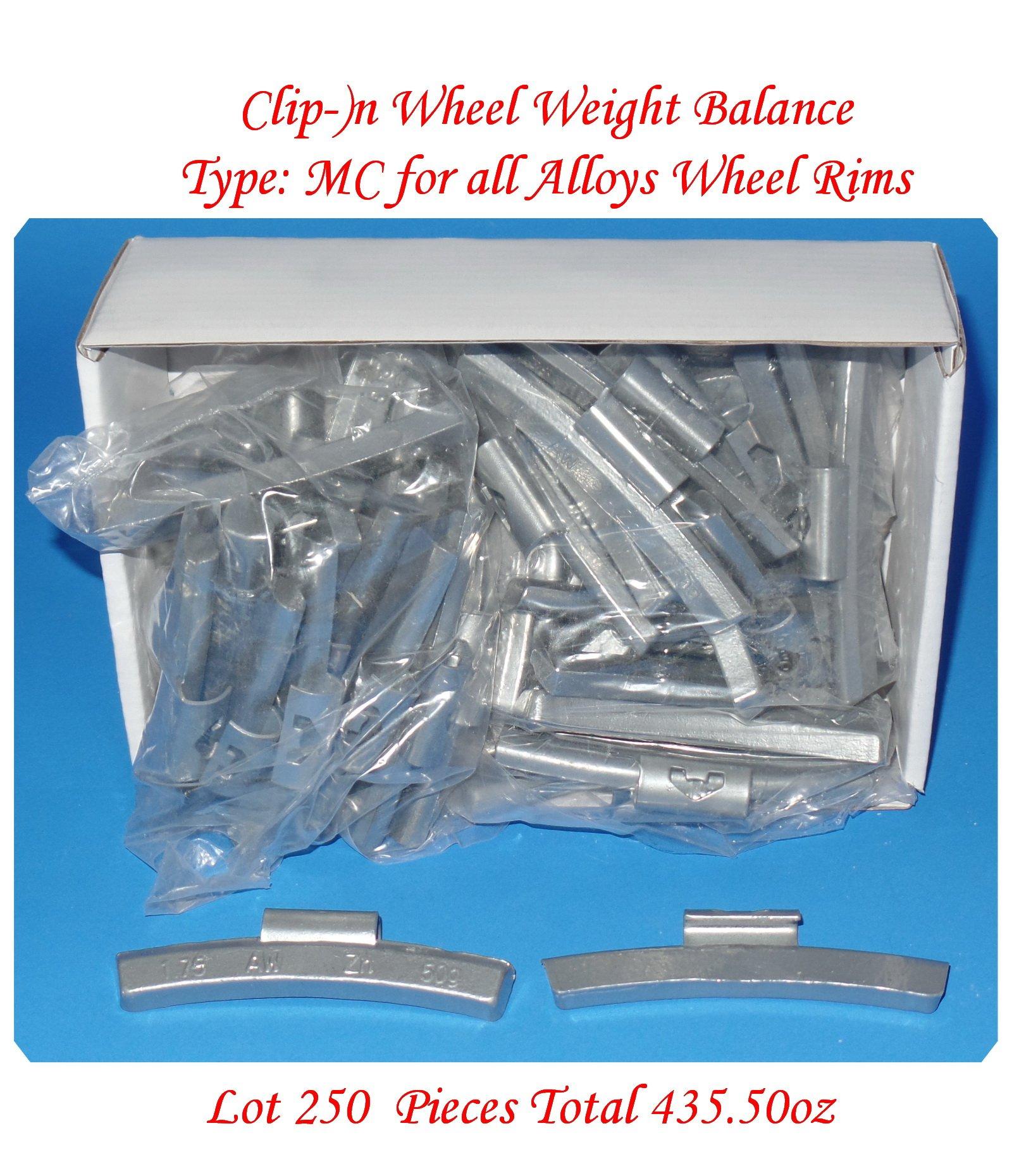 (250 Pcs) ZN CLIP-ON WHEEL WEIGHT BALANCE MC STYLE FOR ALLO WHEELS 1.75oz 1-3/4oz Total 437.50 oz