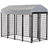 BestPet Dog Crate Pet Kennel Cage Puppy Playpen Wire Animal Metal Camping Indoor Outdoor Cage for Large Dogs with Roof…