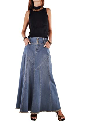 Style J Fantastic Flared Long Jean Skirt at Amazon Women's ...