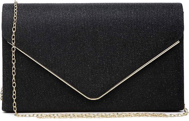 New Glitter Envelope Clutch Bag Glitz Handbag Metal Flap Wedding Outfit Evening
