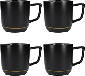 La Cafetière Edited Modern-Style Ceramic Coffee Mugs with Gold-Coloured Decoration, 320 ml (0.5 Pints) - Matte Black/Gold (Set of 4)