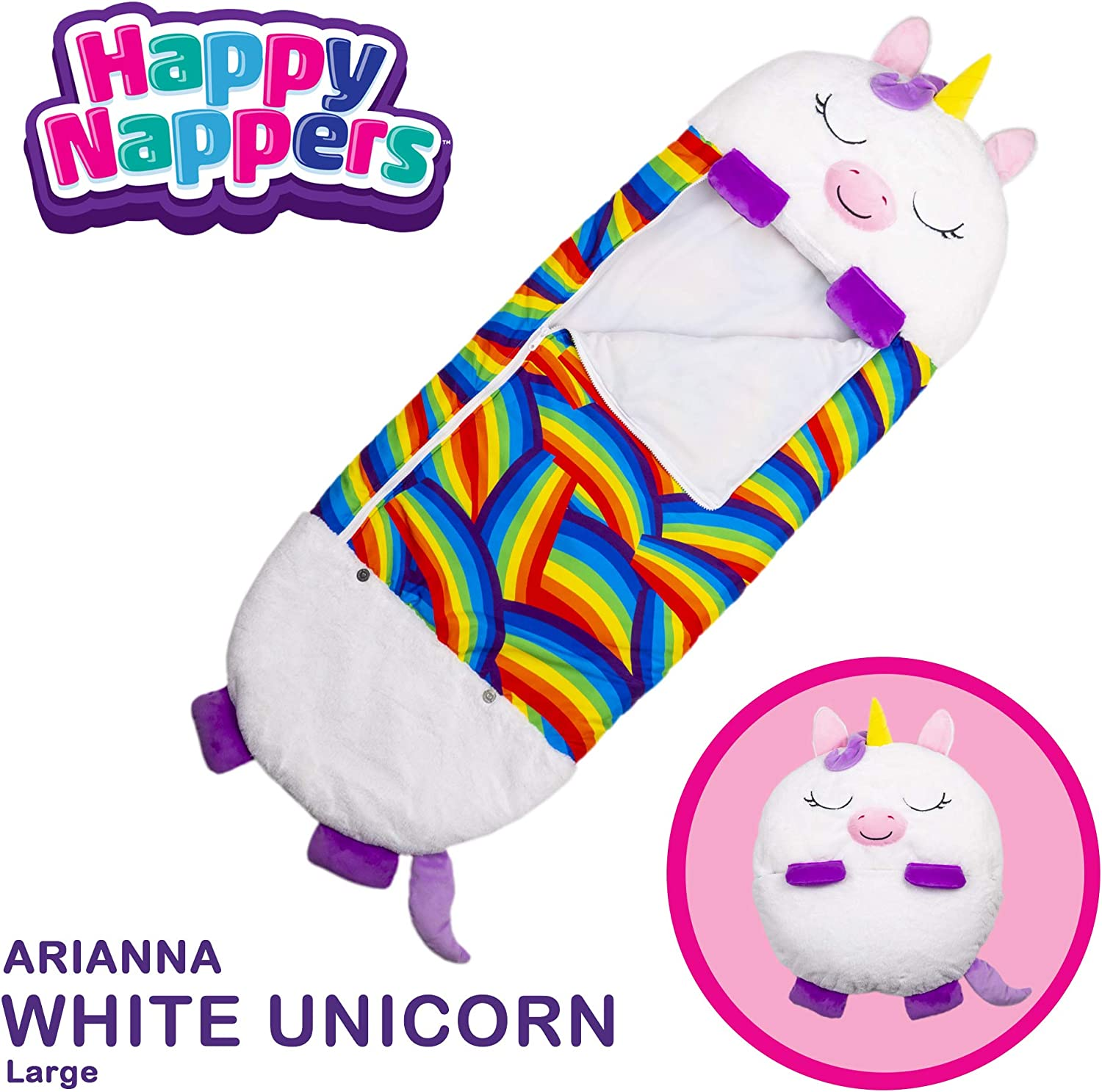 """Happy Nappers Pillow & Sleepy Sack- Comfy, Cozy, Compact, Super Soft, Warm, All Season, Sleeping Bag with Pillow- Large 66"""" x 30"""", White Unicorn"""