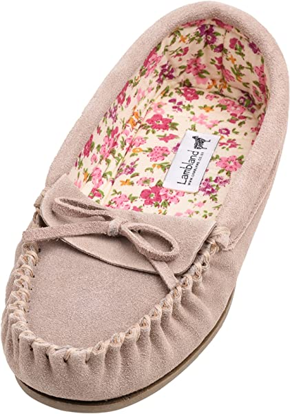 6204c294e4d Lambland Ladies Soft Fabric Lined Moccasin Slippers with Hard Sole in Camel  Size UK3  Amazon.co.uk  Shoes   Bags