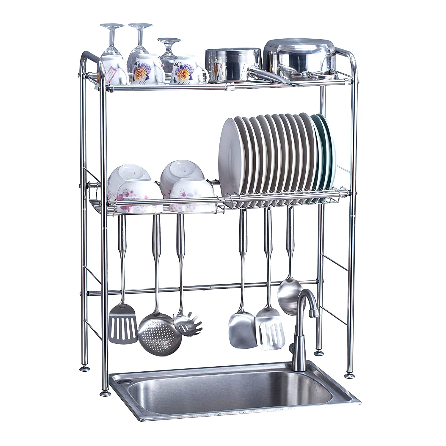 Delite Home 2 Tier Stainless Steel Over Sink Dish Rack Counter Top