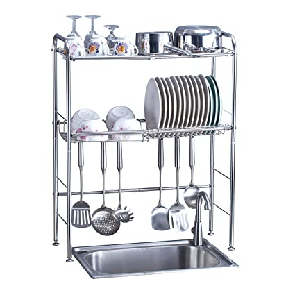 Merveilleux Amazon.com: Delite Home 2 Tier Stainless Steel Over Sink Dish Drying Rack  Counter Top Dish Rack Dish Shelf Dish Collector Silver Single Groove:  Kitchen U0026 ...